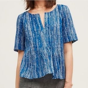 Anthropologie Maeve Blue Orchid Island Top